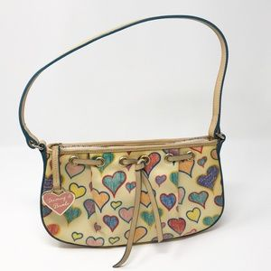 VTG Dooney & Bourke Shoulder Bag Multicolor Hearts